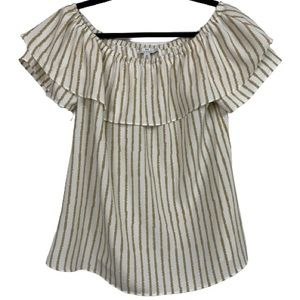 H by Halston Off The Shoulder Striped Ruffle Top